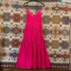 Vintage hot pink nylon lace panel maxi cami dress